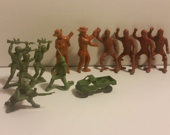 14 VTG Army Men Cowboys and Truck Hong Kong