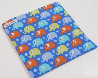 Reusable Sandwich Bag or Reusable Snack Bag Elephant Snack Sandwich Bag