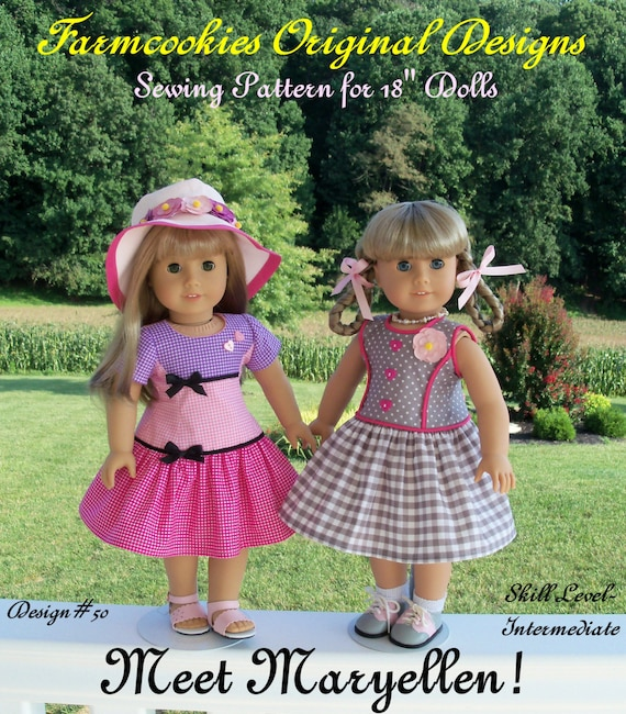 PDF Sewing Pattern / Meet Maryellen! 1950's Style Fit & Flare Dress Pattern / Fits like American Girl doll Clothes Patterns