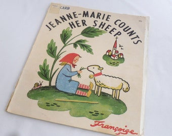 Jeanne-Marie Counts Her Sheep, by Francoise, Children's book, French book, in English, award winner, 1951 book, number book, soft cover bk