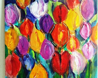 Tulip Flowers Painting with Acrylics in Many Colors