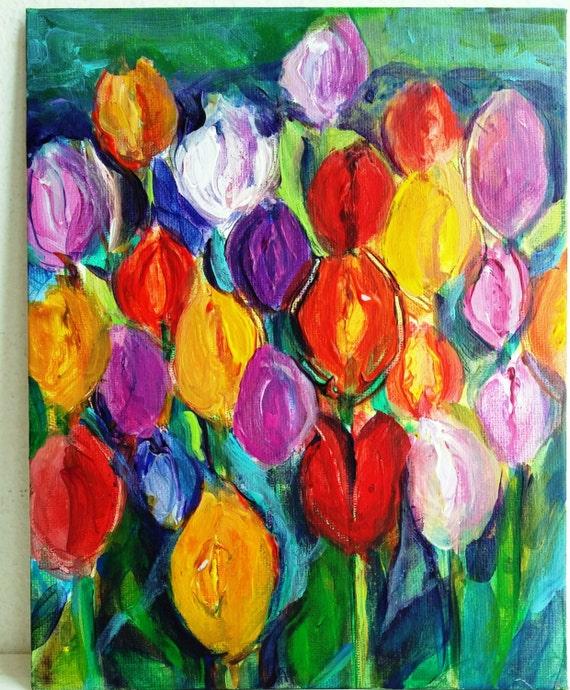 Tulpe blumen malerei mit acrylfarben in vielen farben - Einfache acrylbilder ...