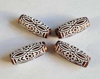 25x8mm Brownish bronze White Ethnic ornate design Tube acrylic bead - 6pcs