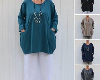 Plus Size Tunic Top, Womens Lagenlook Clothing,  Cotton Long Sleeve, Soft Jersey Cotton, Bohemian, Pockets, UK 16-32 US 14-30  9458