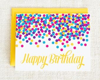 Confetti, Birthday Card, Happy Birthday Card, Celebration Card, Birthday Party, Colorful, Greeting Card, Birthday Cards, Notecard
