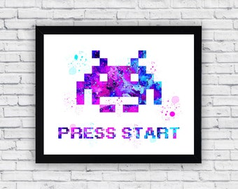 Space Invaders Watercolor print, Space Invaders Printable Wall Art, Space Invaders wall art, Space Invaders poster