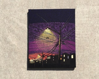Together in the Bright Light of the Purple Night, 16x20 inches, original sewn fabric artwork, handmade, freehand appliqué, ready to hang can