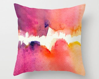 Abstract Watercolor Pillow with insert, Abstract Expressionist Watercolour Cushion, Watercolor Pillow