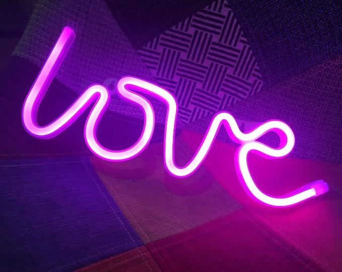 Acrylic Neon LOVE Light - USB/Battery - Pink, White