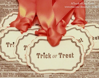 Halloween Gift Tags (Double Layered) - Trick or Treat Tags - Vintage Inspired Handmade Halloween Tags (Set of 8)