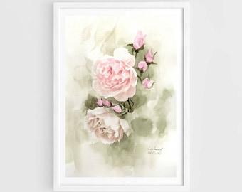 "Original watercolor,flower garden,original painting,8""1x11"",home decor"