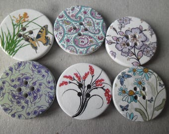 x 6 mixed button wood round flower 4 hole 30 mm
