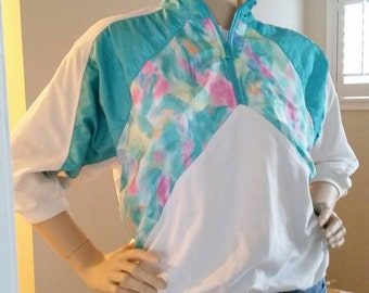 80s watercolor half-zip, dolman 3/4 sleeve