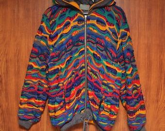 Vintage Coogi Australia Rare Tricolor Knitted Hoodie