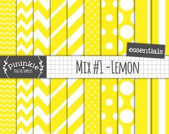 Lemon Digital Paper, Digital Scrapbooking Paper, Yellow Chevron, Yellow Polka Dot, Instant Download, Commercial Use