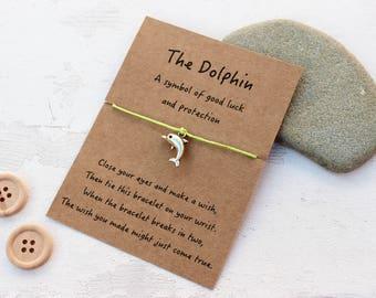 Dolphin Gift, Wish Bracelets, Dolphin Jewellery, Dolphin Bracelet, Friendship Bracelet, Good Luck Gift, Good Luck Jewellery,