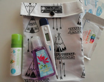 Black & White Teepee Ouch Pouch Clear Front First Aid Toddler School Supplies Gender Neutral Baby Organizer Diaper Bag Insert Medium 5x7