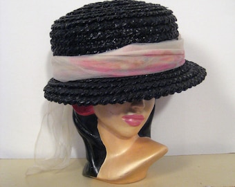 1950s raffia hat with watercolor print scarf • 50s black straw hat • mid-century ladies boater • vintage Jean Allen Styled by Gage hat