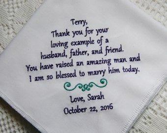 Father of the Groom Gift- Embroidered Handkerchief Choose Your Wording and Design