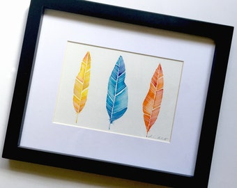 Framed Feather Watercolor Original Art, Three Feathers Watercolor Paintings, Original Feather Art, Yellow Blue Red Feathers Original Art
