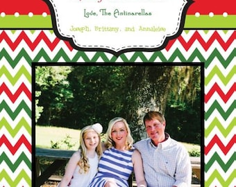 Red Lime Green Chevron Photo Christmas Card