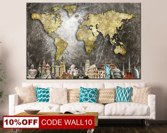 World Map, Colorful World Map, World Map Canvas, Colorful Map Canvas, Map of world, World Map Wall Art, Сustom world map, World Map Poster