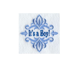 Damask Its a Boy - I Will Machine Embroider This Design On To Your Custom Item