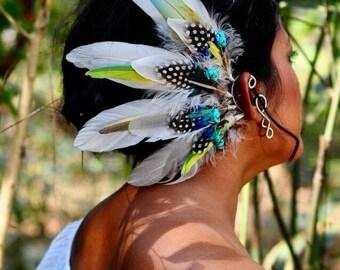 Flying Heads Turquoise Feather Earcuff, Festival Earcuff, Tribal Earcuff, Silver Wire White Feather Earcuff, Pixie Fairy Elf Wedding Cuff