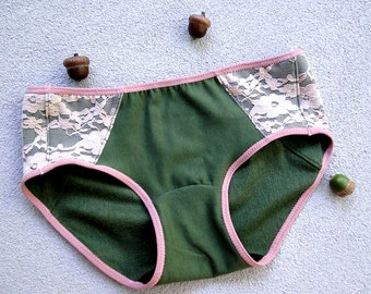 Organic cotton hipster panties, moss green and blush lace, handmade underwear, organic lingerie