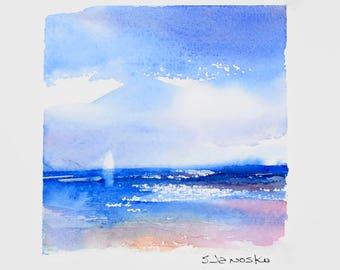 Original Seascape Watercolor, Sailboat Ocean Painting, Coastal Art, Miniature Watercolor, Matted Original Artwork, 8 x 10,  MahiDesigns1