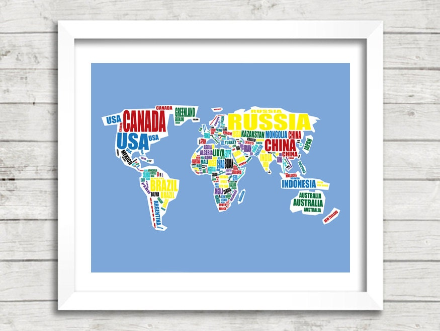 Printable World Map Map Of The World Instant Download World - 8x10 printable world map