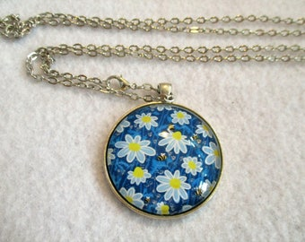 Blue Daisies & BEES Cabochon PENDANT Necklace