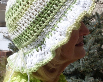 Women's chemo hat that will bring joy, cute all cotton hat with a brim, uniquely handcrafted crochet green and white hat, free shipping USA