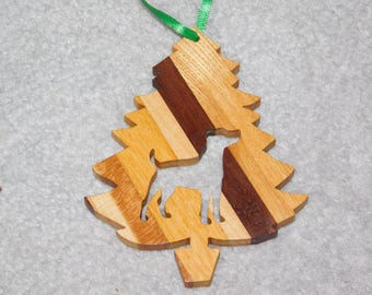 Wood Christmas Tree Dog Ornament -  Jack Russell Terrier