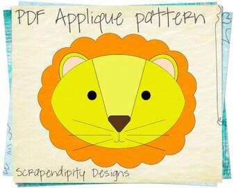 Lion Applique Pattern - Jungle Applique Template / Kids Baby Nursery Quilt Design / DIY Toddler Lion Shirt / PDF Animal Wall Hanging AP27-D