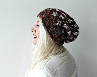 Womens Slouchy Beanie- Hand Knitted- Burgundy- Cream