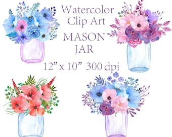Watercolor floral clipart Mason Jars Flower jars clipart wedding invitation floral arrangement greeting card invitation clipart watercolour