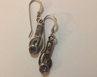 Small Dainty Vintage Sterling Silver and Amethyst Gemstone Celtic Design Earrings