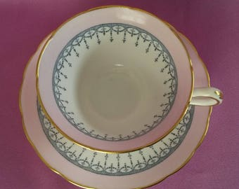 Rare Grosvenor Fine Bone China Pink Tea Cup & Saucer with Gold Trim