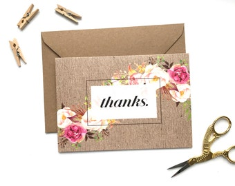 Kraft Thank You card. Rustic. Floral. Thanks. Greetings Card. Note card.
