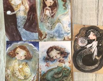 Mermaid - postcard set of 5