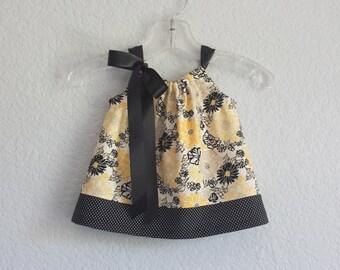 Baby Girls Black and Yellow Sun Dress - Lemon Yellow and Black - Floral Pillowcase Dress and Bloomers - Size Nb, 3m, 6m, 9m, 12m or 18m