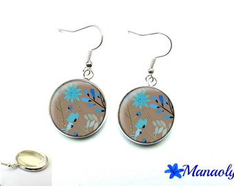Earrings blue flowers on taupe 2997 glass cabochons