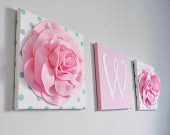 Initial Home Decor, Initial Wall Decor, Wall Hanging, Flocked Letters, Monogram Wall Decor, Light Pink Nursery Decor, Blue Nursery Wall Art