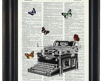 Typewriter with Butterflies  Dictionary Art Print with A HHP Original with HHP Signature Butterflies  Dictionary Prints