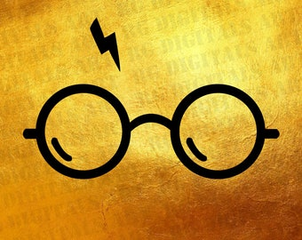 GOLD! Harry Potter Silhouette clipart, Harry Potter svg, Harry Bundle SVG, Harry Potter Glasses and scar clipart, files for Silhouette Cameo