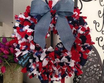 Rag Wreath - Patriotic Red White Blue