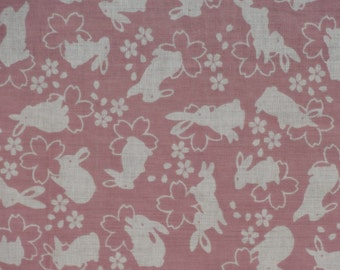 Tenugui 'Pink Rabbits and Cherry Blossoms' Fabric Japanese Cotton Gauze w/Free Insured Shipping