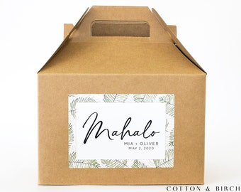 Personalized Wedding Mahalo Gable Box - Set of 12, 16  | Wedding Guest Gable Box | Thank You Favors | Destination Wedding Guest Gift Box |