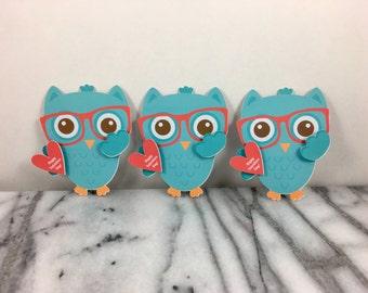 Valentines, Nerdy Owl Boy set of 12, Mini note cards, Valentines Day, Classroom Valentines, School Valentines, Preschool Valentines